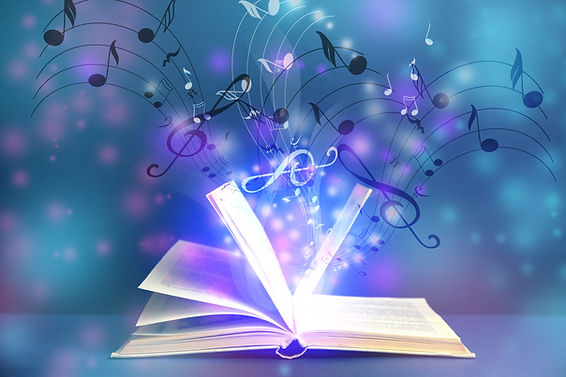 Symphony shining with musical notes from