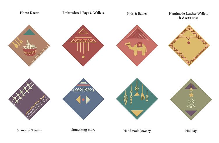 Handmade Palestine Branding Icons