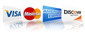 Payment options Visa Matercard American Express Discover