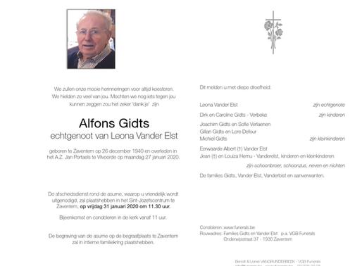 Overlijden Alfons Gidts
