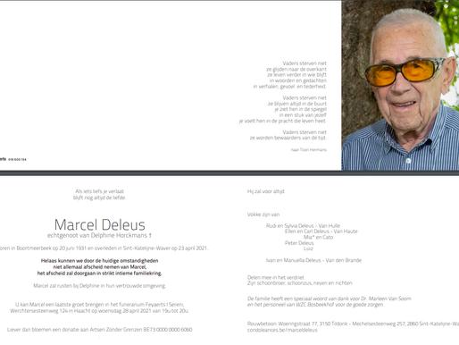 Overlijden Marcel Deleus
