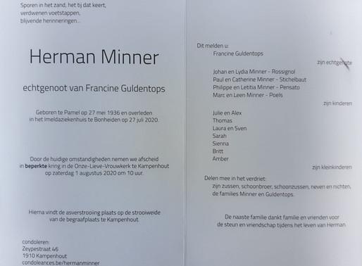 Overlijden Herman Minner