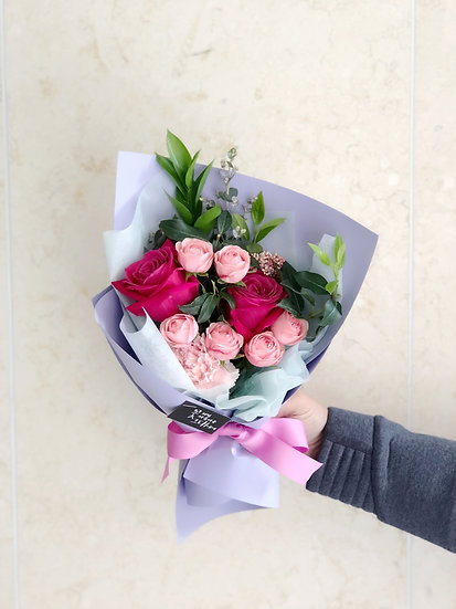 트윙클 라벤더 장미꽃다발