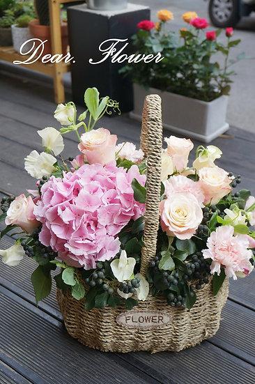 핑크엔젤 꽃바구니