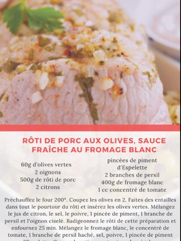 Rôti de porc aux olives, sauce fraîche a