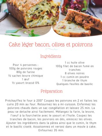 Cake léger bacon, olives et poivrons