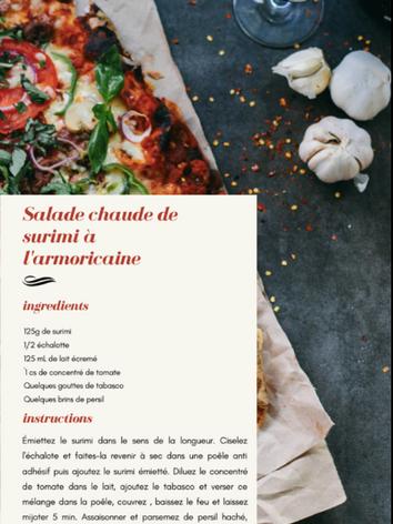 Salade chaude de surimi à l'armoricaine