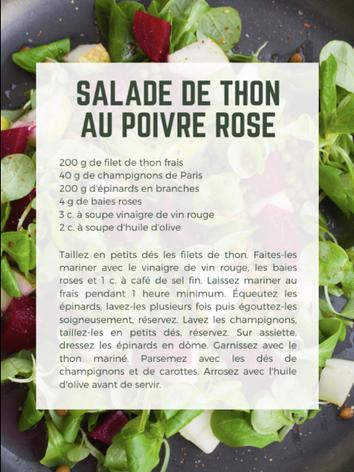 Salade de thon au poivre rose