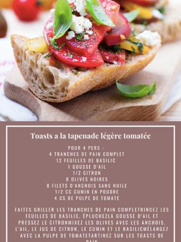 Toasts à la tapenade légère tomatée
