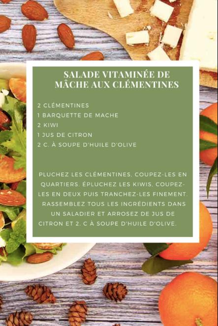 Salade vitaminée de mâche aux clémentine
