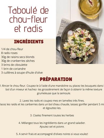 Taboulé de chou-fleur et radis