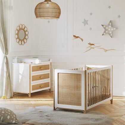 Chambre bébé Océania Neige avec lit 60 x 120 cm