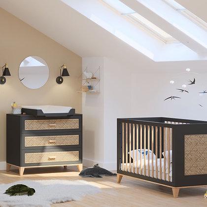 Chambre bébé Nami Onyx avec lit 60 x 120 cm