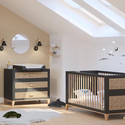 Chambre bébé Nami Onyx avec lit 70 x 140 cm