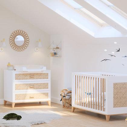Chambre bébé Nami Neige avec lit 60 x 120 cm