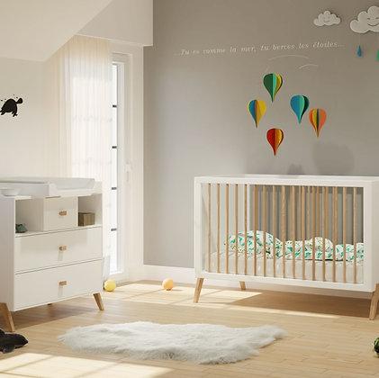 Chambre bébé Marélie Neige avec lit 70 x 140 cm