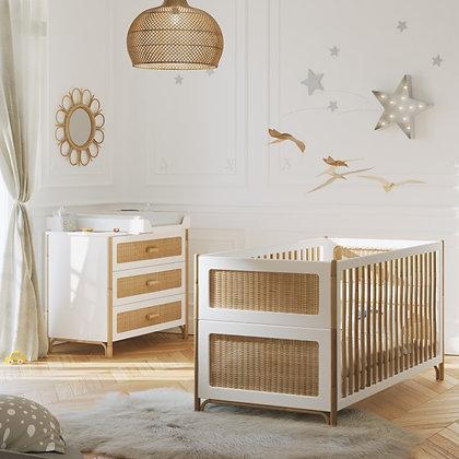 Chambre bébé Océania Neige avec lit 70 x 140 cm