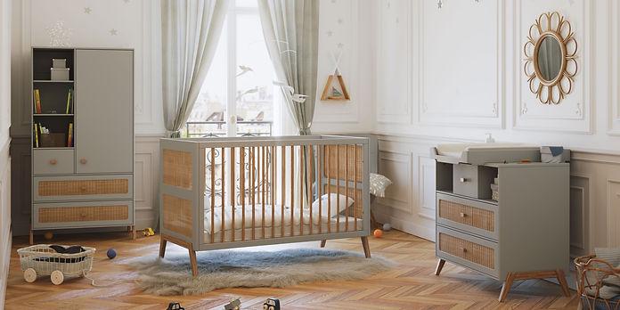 chambre bébé évolutive bois et rotin marélia théo bébé