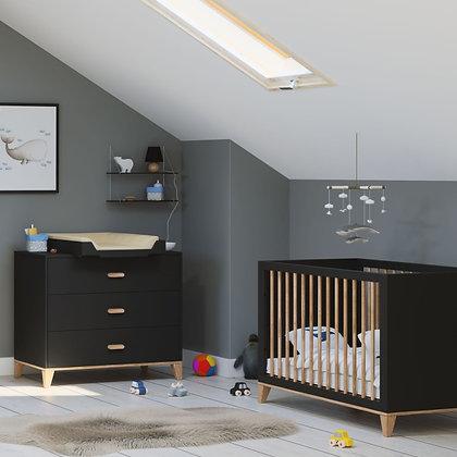 Chambre bébé Naïa Onyx avec lit 60 x 120 cm