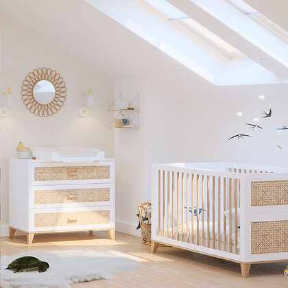 Chambre bébé Nami Neige avec lit 70 x 140 cm