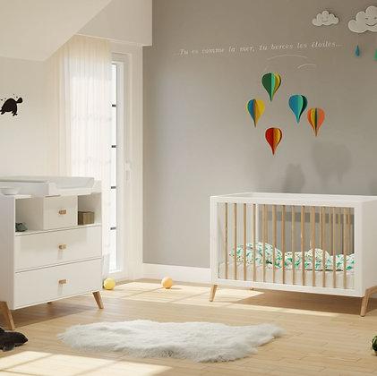 Chambre bébé Marélie Neige avec lit 60 x 120 cm