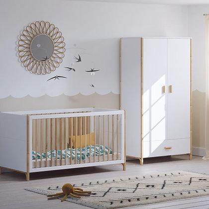 Chambre bébé Océane Neige avec lit 70 x 140 cm