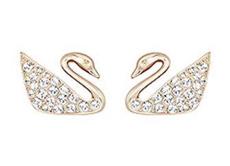 SWAROVSKI Swan Ohrringe, weiss, Rosé vergoldet