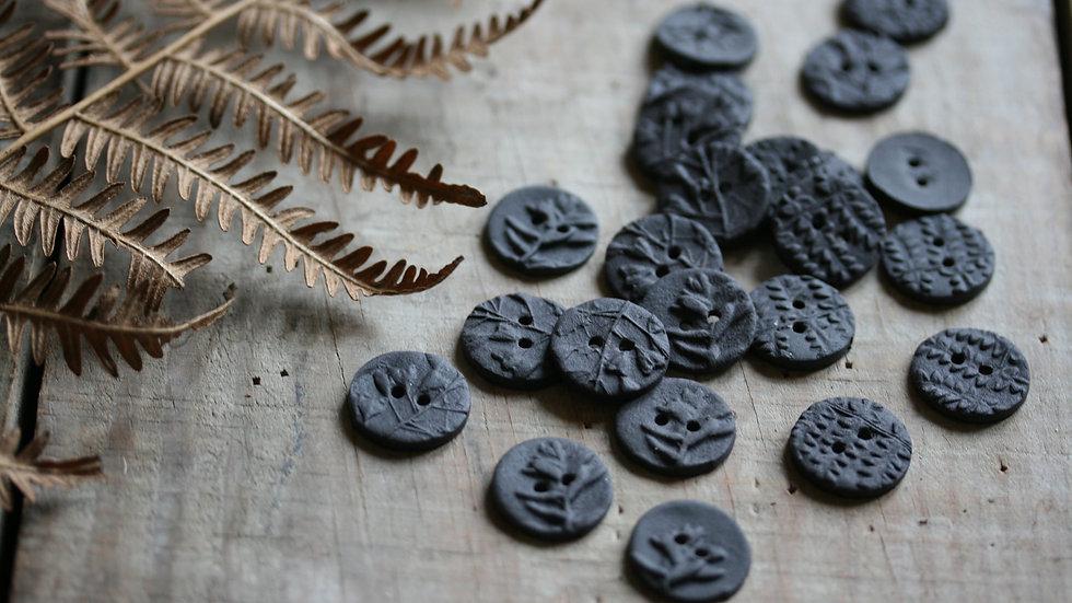 Lot de 6 minis boutons en porcelaine NOIR FOSSILE ref 030