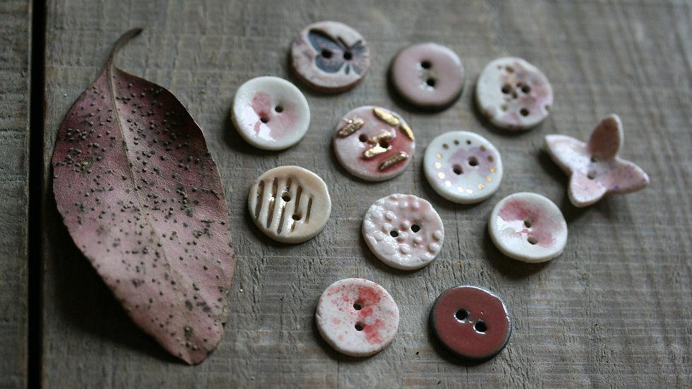 Lot de 6 minis boutons en porcelaine ROSE ref 022
