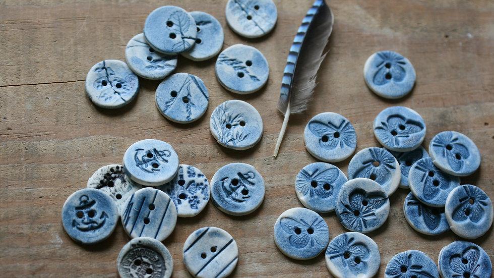 Lot de 8  boutons en porcelaine INDIGO