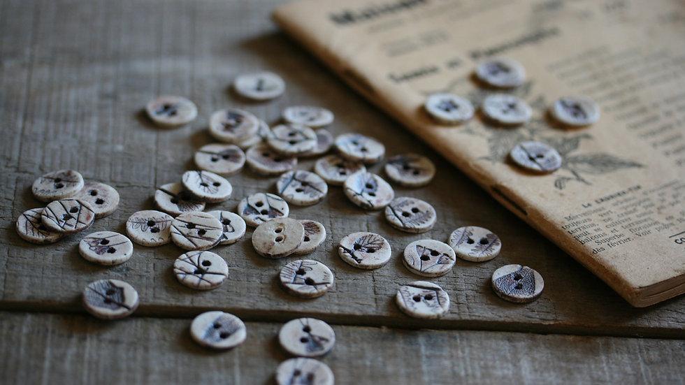 Lot de 6 boutons en porcelaine RIKIKIS HERBIER SEPIA