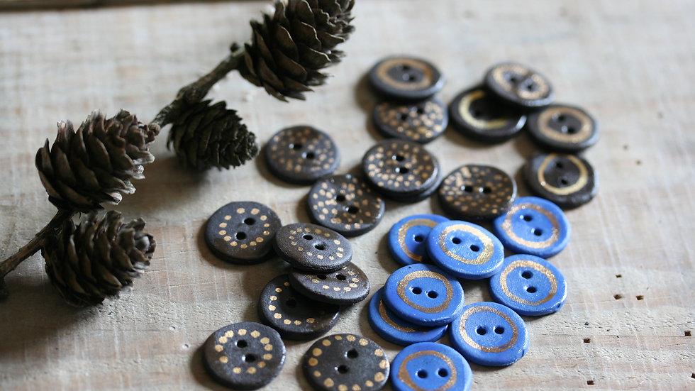 Lot de 6 minis boutons en porcelaine NOIR OR ref 006