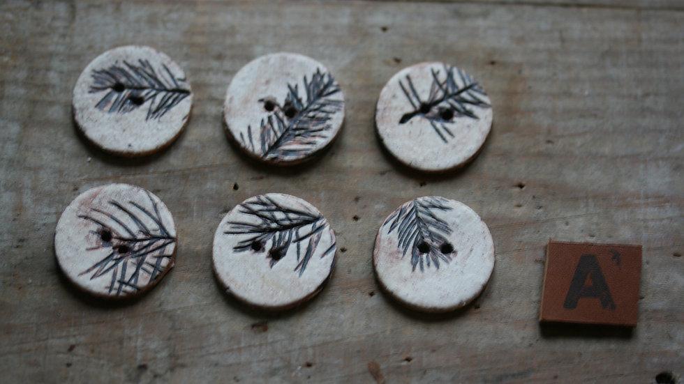 Lot de 6 boutons en porcelaine herbier diametre 2,5 cm