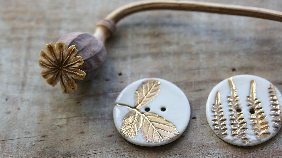 Lot de 6 boutons en porcelaine herbier OR diametre 2,5 cm