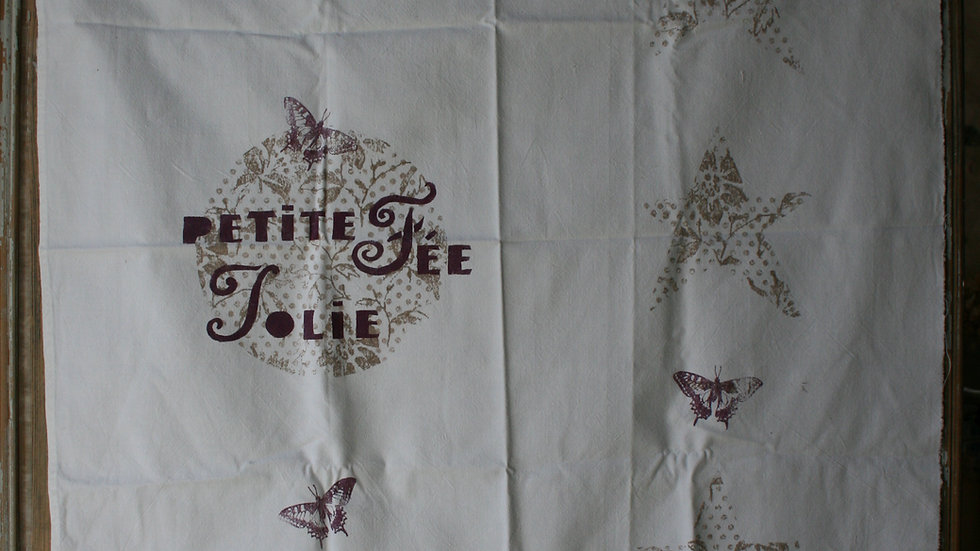 Tenture en drap ancien imprimé à la main