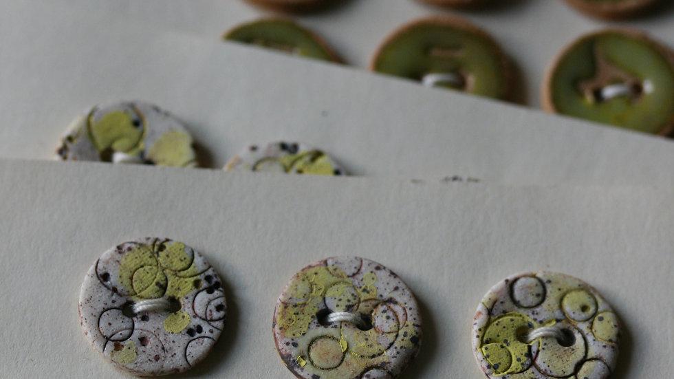 Plaquette de 6 minis boutons en porcelaine COLORIS JAUNE