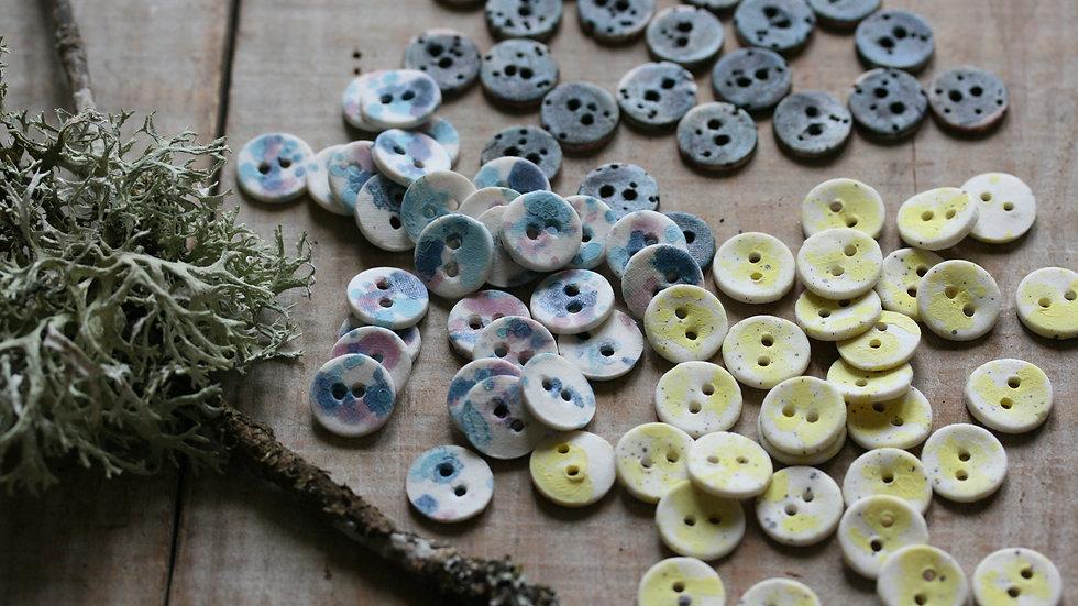 Lot de 6 boutons en porcelaine RIKIKIS speckles