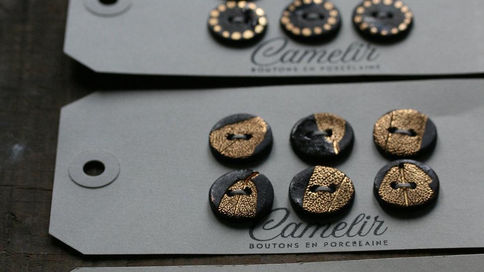 Plaquette de 6 minis boutons en porcelaine  NOIR et OR