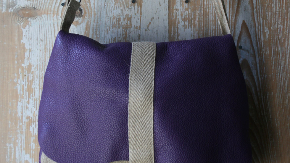 grand sac besace en lin rustique et cuir grainé