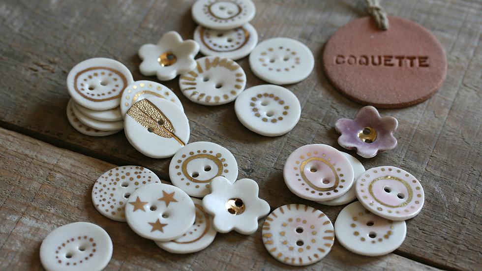 Lot de 6 boutons en porcelaine OR diametre 2,5 cm