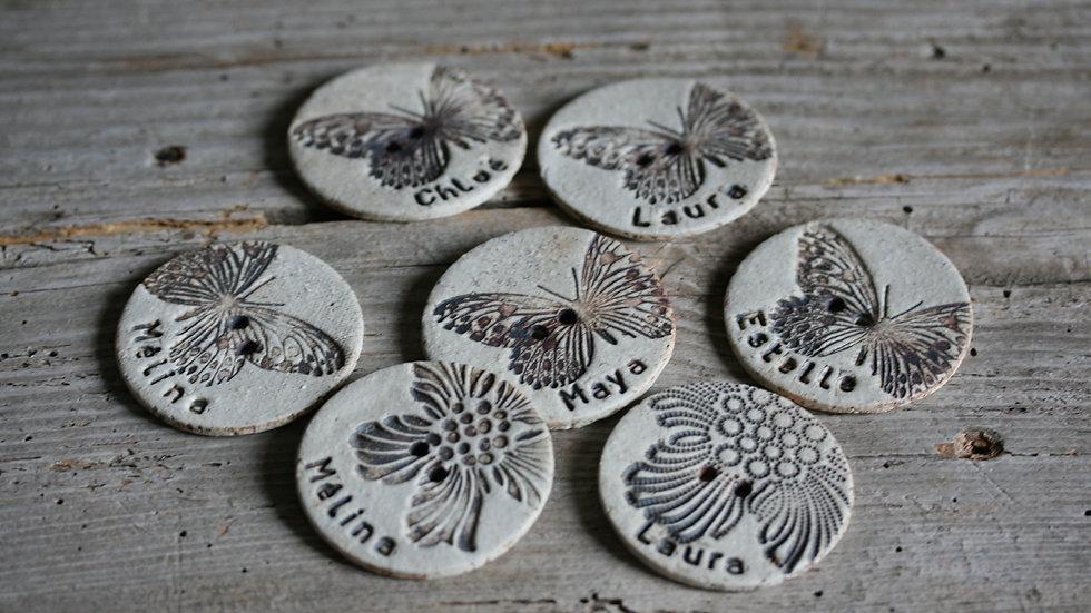 Grand bouton en porcelaine personalisé