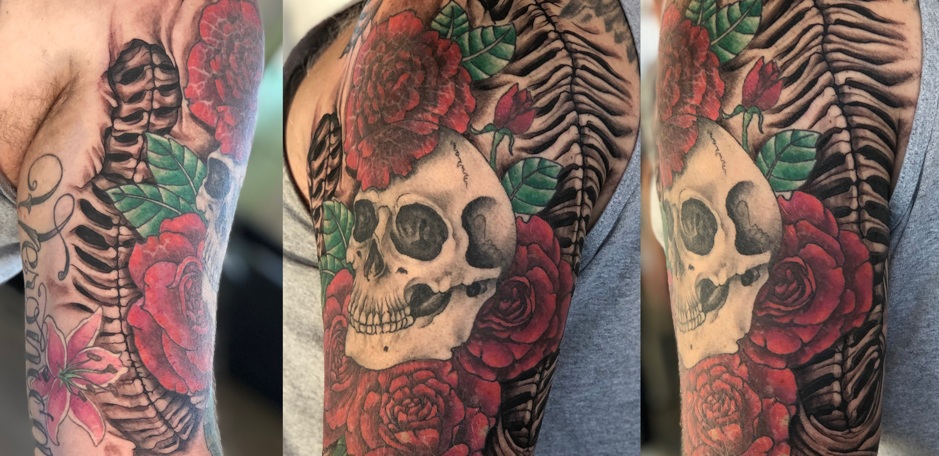 Rusty Dueck Skull and Roses Half Sleeve.