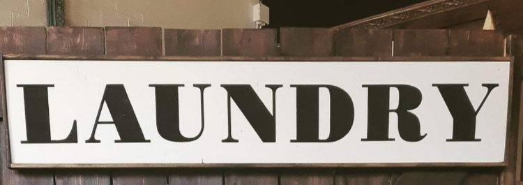"Laundry 10""x48"" wood sign"