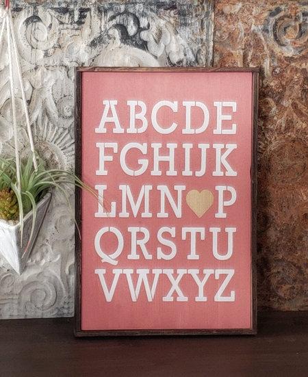"ABC 12"" x 18""  wood sign"