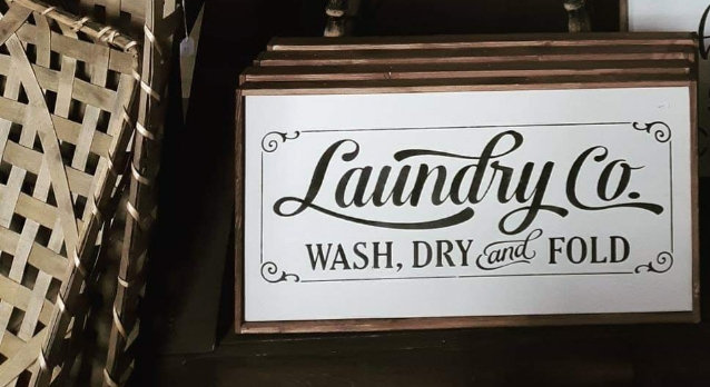 "Laundry co. 12"" x 24"" wood sign"