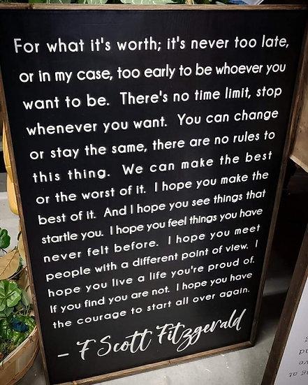 """F Scott Fitzgerald quote 24""""x 36"""" wood sign"""