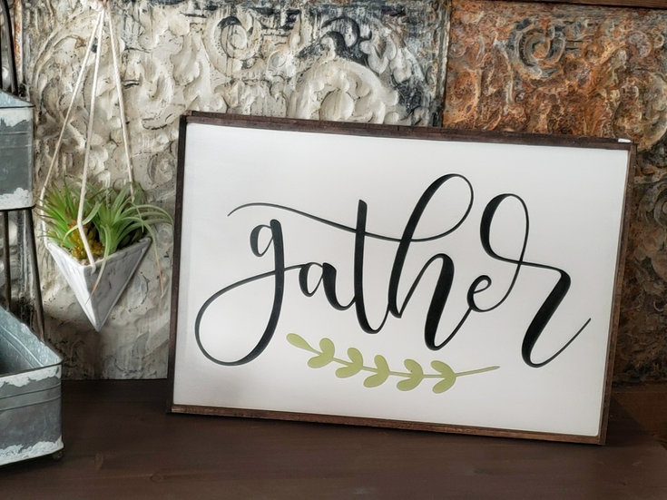 "Gather with leaves 16"" x 24"" wood sign"