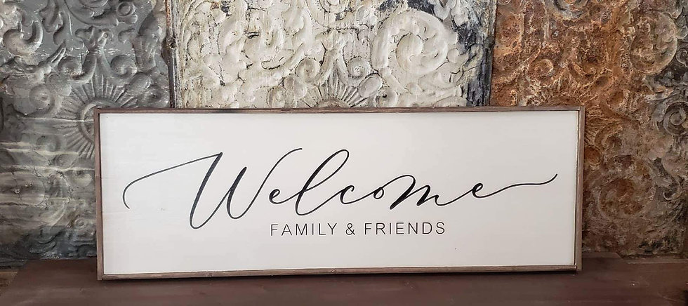 """Welcome Family and Friends 12"""" x 36"""" wood sign"""