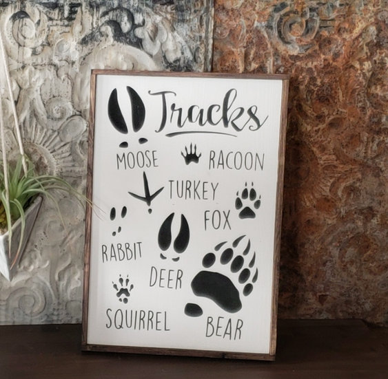 "Tracks 12"" x 18"" wood sign"