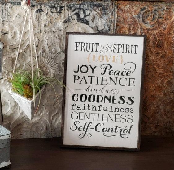 "Fruit of the Spirit 12"" x 18""  wood sign"